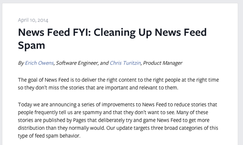 facebook news feed article