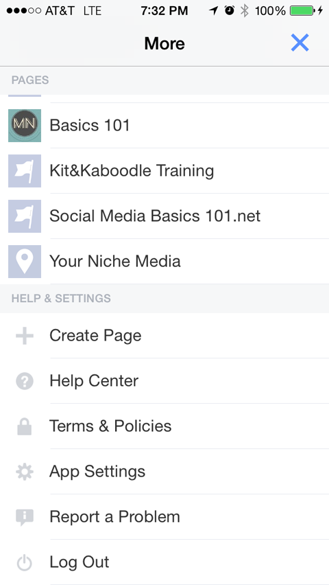 facebook pages app management menu