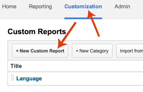 custom report menu in google analytics
