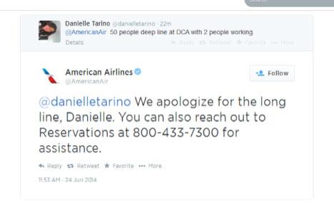 @americanair response on twitter