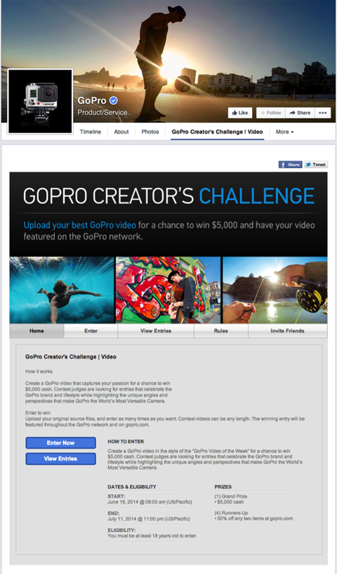 gopro contest landing page