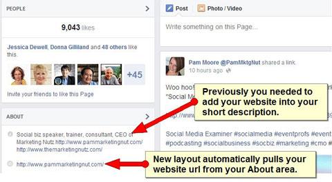 website url showing on facebook