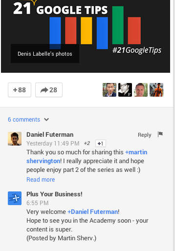 google+ post business comment