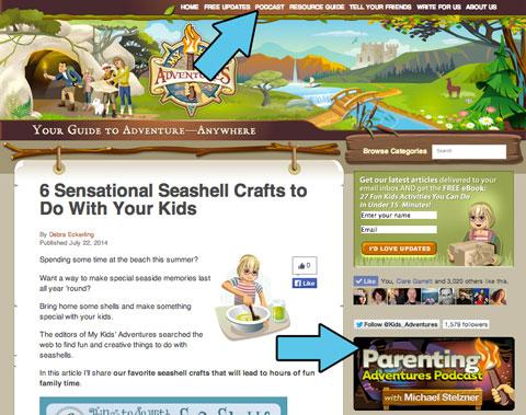 parenting adventures linked on mykidsadventures.com home page