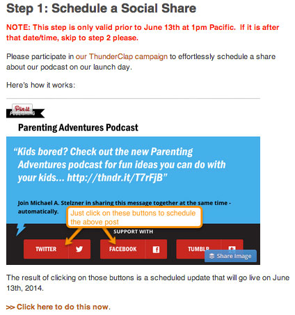 step 1 on the podcast launch page