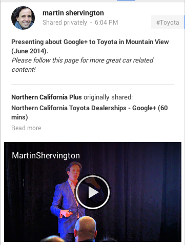 google+ post with a call to action
