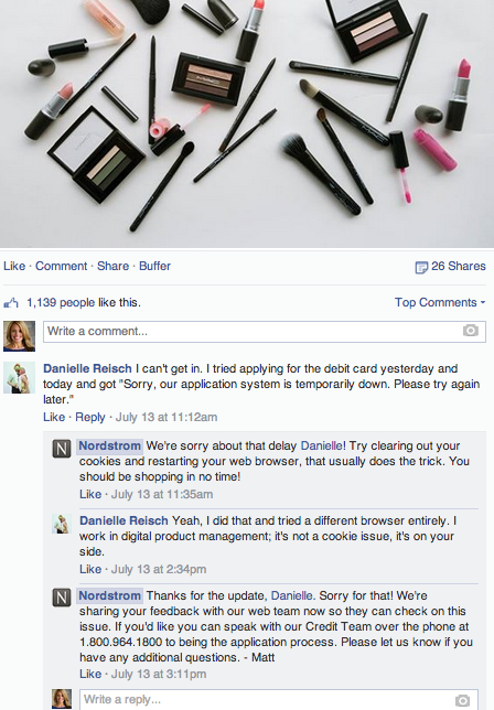 nordstrom facebook post and comments