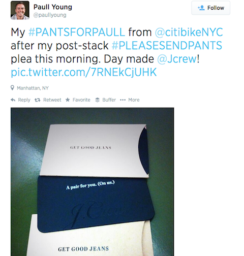 tweet with @citibikenyc thank you mention