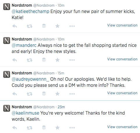 nordstrom twitter feed