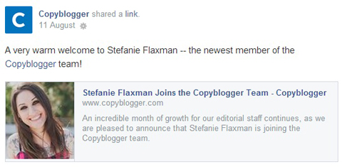 copyblogger facebook update