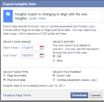 post level export from facebook insights