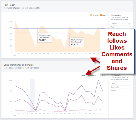 page reach in facebook insights