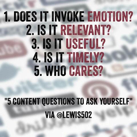 content evaluation questions