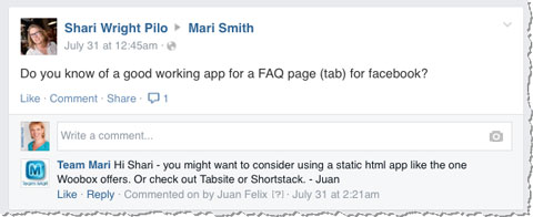 team mari facebook response