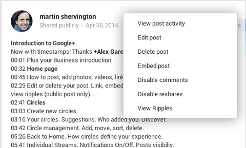 edit a google plus post to add timestamps