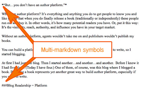 multimarkdown symbols in text