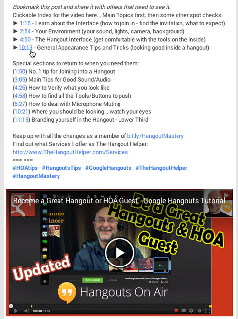 timestamps on google hangout post