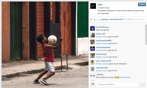 nike world cup instagram image with #justdoit hashtag