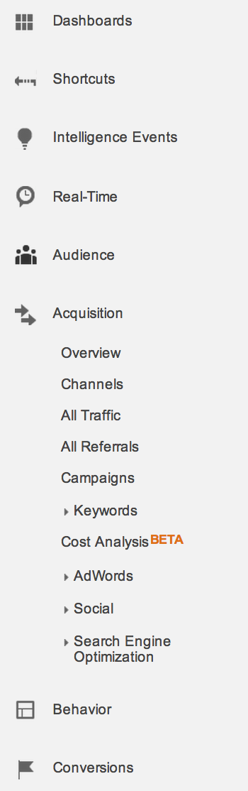 google analytics left sidebar menu