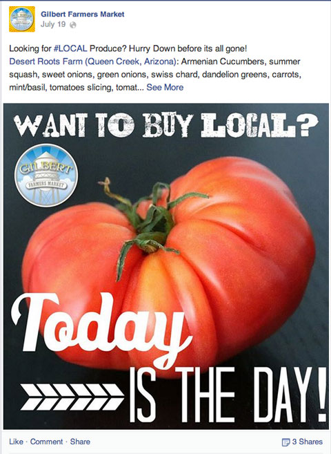 gilbert farmers market facebook update