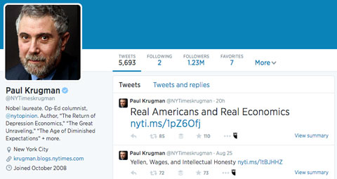 paul krugman twitter profile