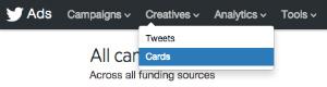 creatives twitter menu options