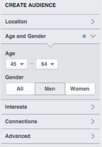 age and gender options in create audience
