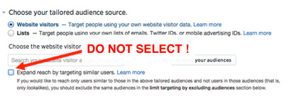 deselect expand reach by targeting similar users