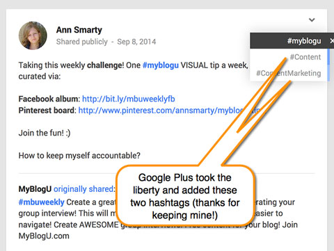 google+ post with automatic hashtags
