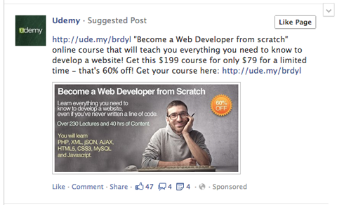 udemy facebook post