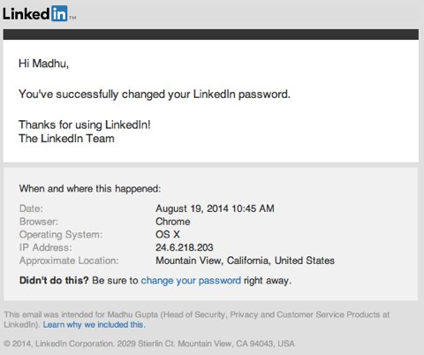 linkedin security password changes