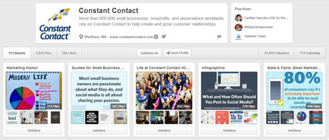 constant contact on pinterest