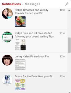 notifications on pinterest