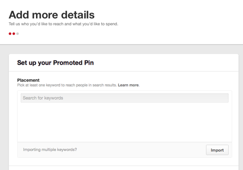 setting up promoted pin