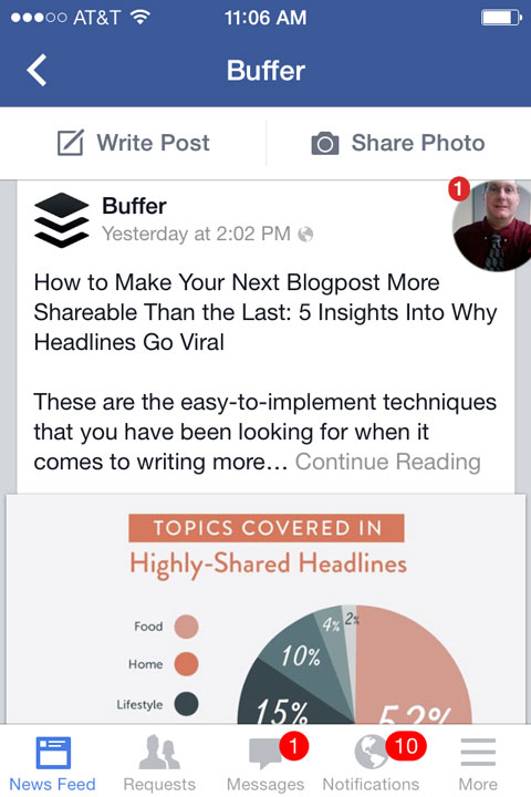 buffer facebook post on mobile
