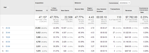 google analytics age data
