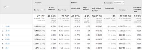 google analytics age data