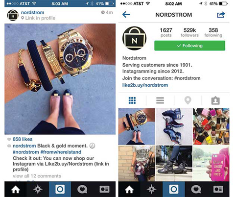 Nordstrom links Instagram with e-commerce and its website.