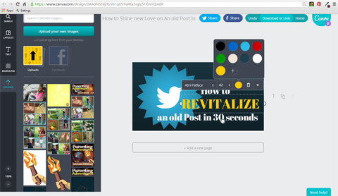 font color in canva image tool