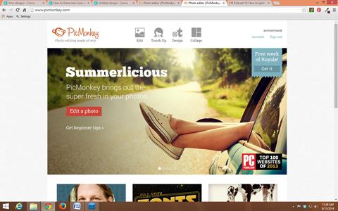 picmonkey home page