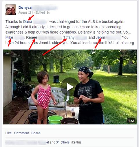 als challenge facebook update