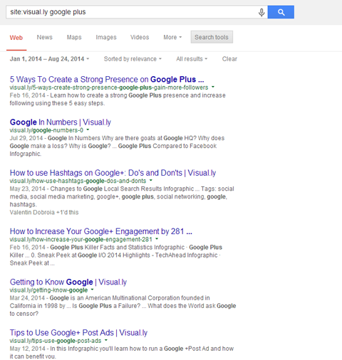 google plus results for visually