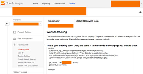 copy the tracking script in google analytics