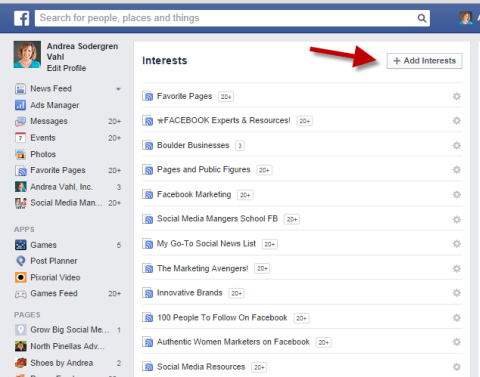 interests lists on facebook
