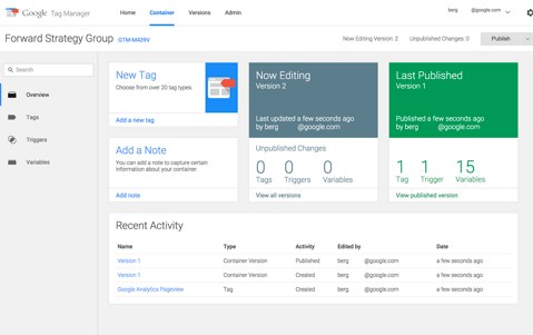 google analytics tag manager interface