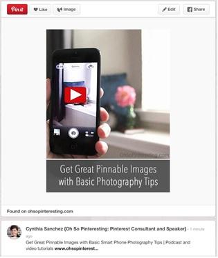 pinnable video image