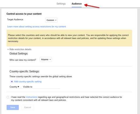 google plus global audience settings