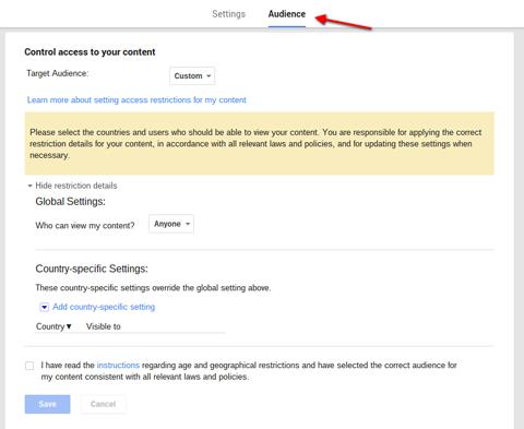 google plus global audience settings