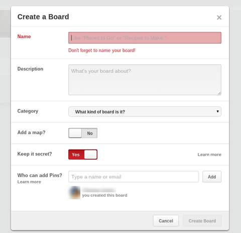 pinterest secret board settings