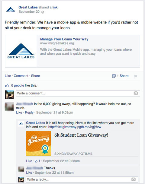 great lakes comment with campaign reminder